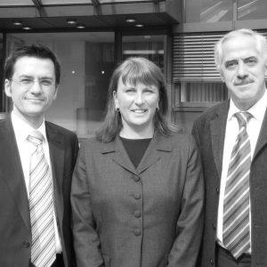Die Essener Landtagsabgeordneten Britta Altenkamp, Dieter Hilser und Thomas Kutschaty