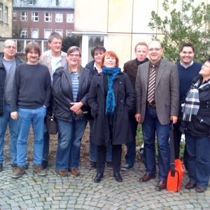 Britta Altenkamp stv. Vors. SPD Landtagsfraktion( Mitte rote Haare), André Stinka SPD MdL (Dülmen) und die Mitarbeitervertretung des Stift Tillbeck